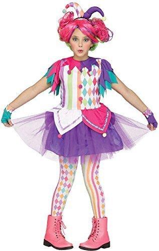Fancy Me Bambine Ragazze Teenager Brillante GIULLARE Clown Circo Carnevale Halloween Arcobaleno Costume Vestito 7-14 Anni - 12-14 Years