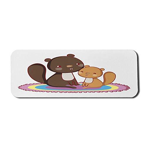 Beaver Computer Mouse Pad, Cartoon Style Fröhliche Illustration von 2 flauschigen und freundlichen Tier, Rechteck rutschfeste Gummi Mousepad große dunkle Palisander mehrfarbig