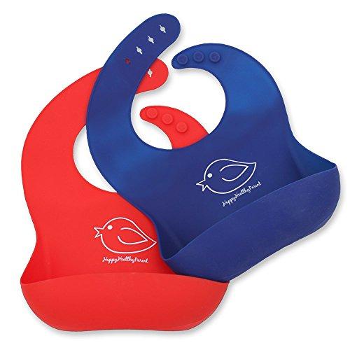 Silikonlätzchen, wasserfest und abwischbar Ein komfortables Silikonlätzchen, dass Flecken vorbeugt. Verbringen Sie weniger Zeit nach dem Essen mit Babys oder Kleinkindern! Set aus 2 Farben.