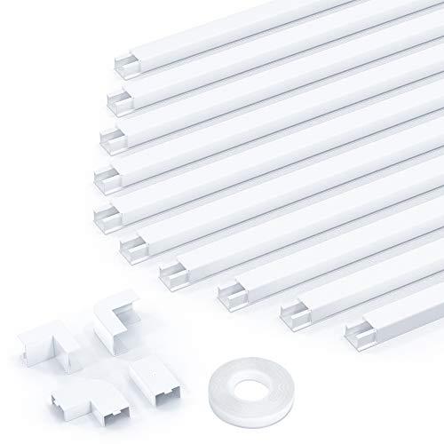 kinkaivy Kabelkanal weiß, 4m (10 Stück - 15x10 mm klein) Mini Kabelkanal selbstklebend, Lackierbarer Kabelkanal zum Verstecken eines Netzkabels, Lautsprecherkabels oder TV-Kabels zu Hause oder im Büro