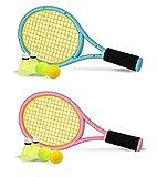 Nileatry Kid Tennis Racket with Bag,Plastic Racquet Include 2 Foam Ball,2 Tennis Ball,4 Badminton for Children,Toddler Outdoor/Indoor Sport Play