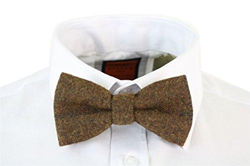 Marc Darcy Herrenfliege Tweed Fischgräte Design Samt Optik Vintage Retro Stil