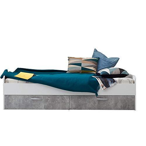 trendteam smart living Jugendzimmer Bett Funktionsbett Jugendbett Canaria, 204 x 52 x 94 cm in Korpus Weiß, Absetzung Stone Dekor mit zwei Schubkästen und viel Stauraum