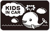 imoninn KIDS in car ステッカー 【マグネットタイプ】 No.33 クジラさん (黒色)