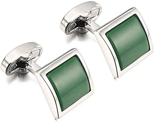 ALOMIN Gemelos de cristal verde para hombre, 2 unidades, para camisa de hombre, gemelos de boda, novio (color: verde)