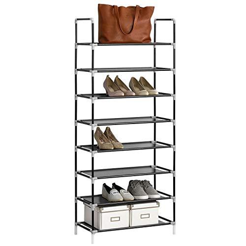 Juskys Schuhregal Marino mit 8 Ebenen – Schuhablage aus Metall & Vliess - Schuhschrank für 24 Paar Schuhe - 60 cm breit - schwarz