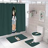 4 Stück Frog Girl Duschvorhang-Sets mit rutschfestem Teppich, Toilettendeckel & Badematte, Anime Girl Asui Tsuyu Wasserdichter Duschvorhang für das Badezimmer