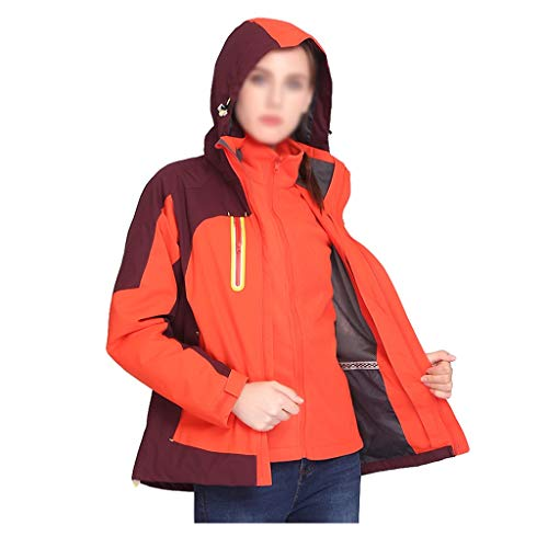NYKK Women's Water-Resistant Outdoor Hiking Jacket Windproof Mountain Coat - Detachable Hood Winter Coat - Waterproof Rain Jacket for Travelling (Color : A, Size : L Size)