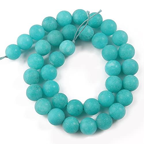 NHFVIRE Azul Amazonita Cuentas de Piedra Natural Matte Jades Ronda Redonda Perlas espaciadoras para la joyería Que Hace el Collar de Pulsera de Bricolaje Blue 10mm 36pcs