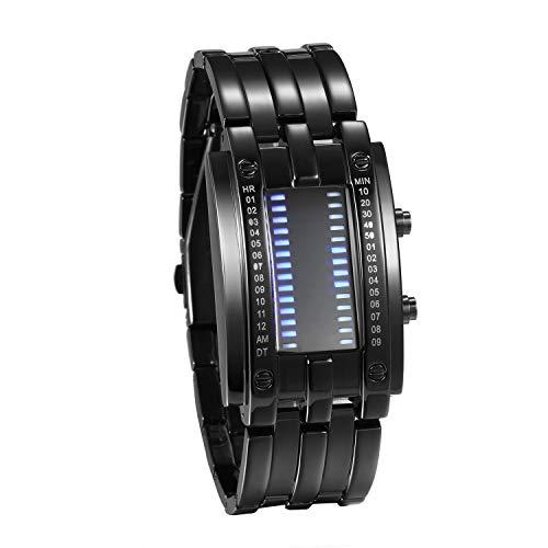 JewelryWe Paar Uhren Digitaluhr Schwarz Edelstahl Binäre Uhr Rechteck Bezel LED Sportuhr Blau LED Licht Kalender Mode Cool Partner Armbanduhr für Herren