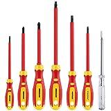 Destornilladores Electricista, MAXPOWER Juego de Destornilladores Electricista VDE 1000V Aislados, Forma SL-PH y Buscapolos, 7 Piezas