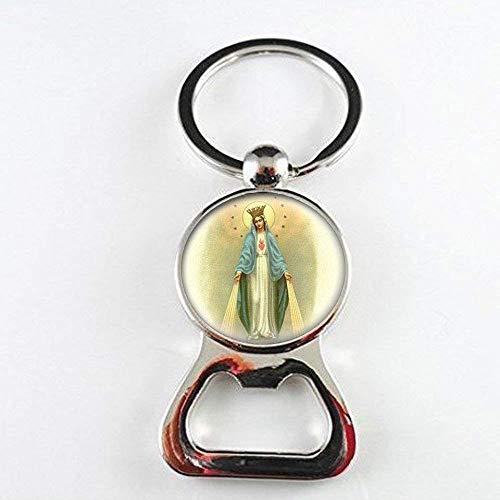Abridor de botellas con medallas de Virgen María