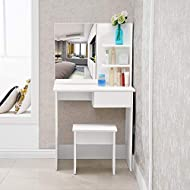 👍 Popular white color dressing table can make your room brighter and more fashion. 👍 Durable Material - White smooth table top made of MDF, smooth surface which is easy cleaning. 👍 Enough Space-1 draw and 3 shelves provide enough space to storage you...