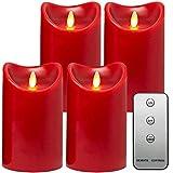 Tronje LED Echtwachskerzen 4er Set mit Timer u. Fernbedienung 15cm