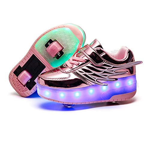 AIkuass USB Chargeable LED Light Up Double Roller Shoes Boys Girls Kids Wheeled Skate Shoes