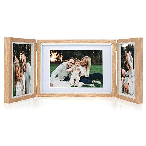 Czemo 6 Pollici 15x10 e 13x18 Portafoto Pieghevole in Legno Tripla 3 Cornice per Foto Collage Cornice per Famiglia Cornice da Tavolo Memoriale Cornice per Regalo di Nozze