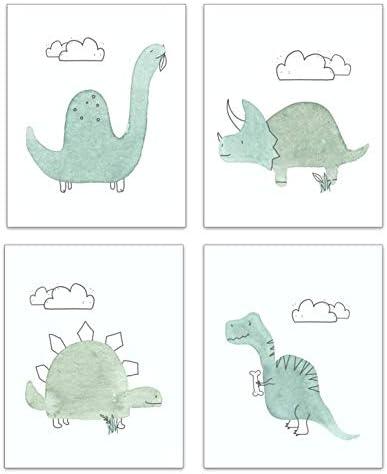 Dinosaur Nursery Decor Set of 4 Wall Prints Baby Dinosaur Decor for Boys Girls Cute Dino Bedroom product image