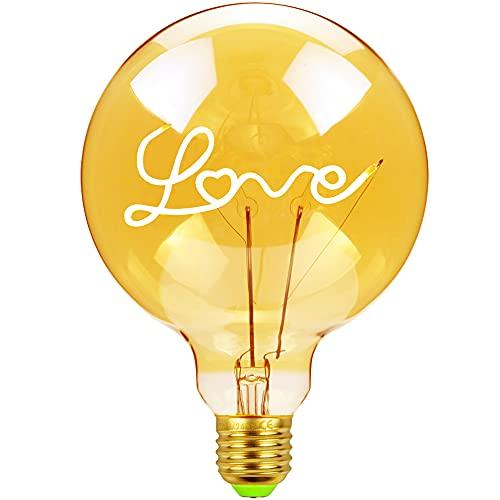 TIANFAN - Bombillas LED estilo clásico de 4W, regulables, diseño con la palabra «Love» o «Home», 220/240V, E27, lámpara de mesa