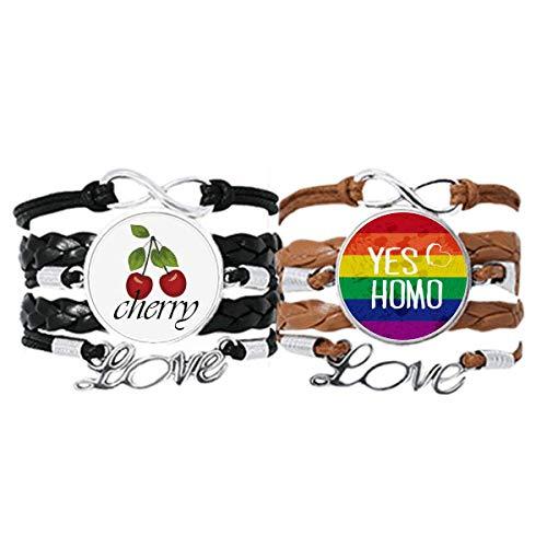 Bestchong Yes Homo LGBT Rainbow Love Pulsera de mano Correa de cuero de cereza Love Wristband Set doble