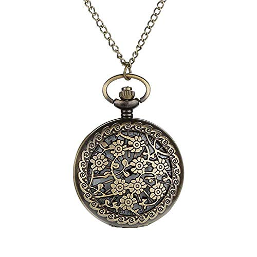 Homeofying Vögel/Turm/Eule/Blume Vintage Bronze Anhänger Halskette Kette Quarz Taschenuhr Taschenuhr 4#