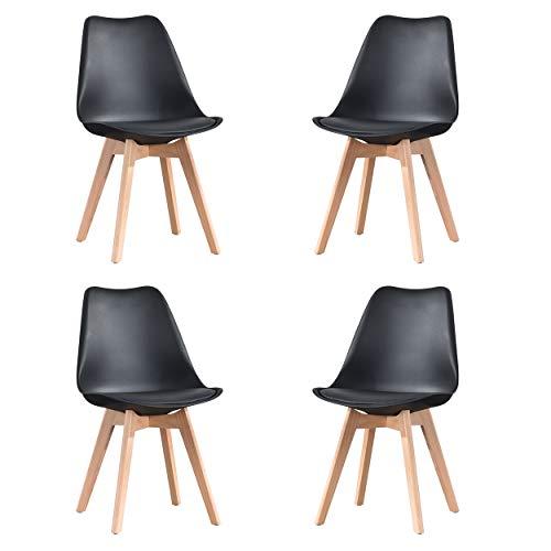 Juego de 2/4 sillas de comedor con asiento acolchado y patas de madera para comedor, cocina, sala de estar, dormitorio, hogar, muebles de cocina, color negro