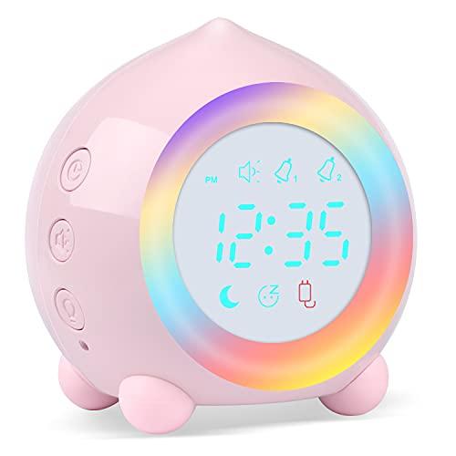Reloj Despertador Infantil Digital, Despertador Digital Simulador de Amanecer Despertador para Niñas Niños con Luces Colores y Lámpara de Luz Nocturna Despertador Silencioso (Rosa-2)