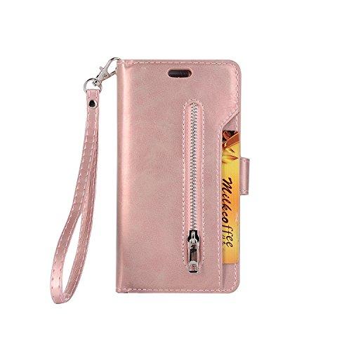 SsHhUu Funda Samsung Galaxy S7 Edge, PU Cuero Soporte Plegable Billetera Ranuras para Tarjetas Cremallera Cierre Magnético Funda para Samsung Galaxy S7 Edge (5.5') Rose Oro
