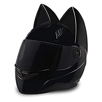 Nitrinos Full Face Motorcycle Helmets with Cat Ears Riding Motocross Racing Moto Helmet  M