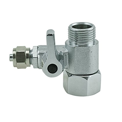 T-Stück 3/8x3/8x1/4' Schlauch Wasseranschluß m. Absperrhahn Adapter zum Anschluss von 2 Geräten