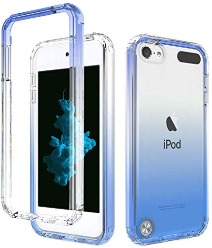 Blue iPod Touch Case with Built-in Screen Protector for 5, 6, and 7 Generation, Anti-Scratch and Shock-Resistant Cover for Apple iPod with Soft-Grip Bumper, Transparent and Slim Fit Protective Shell