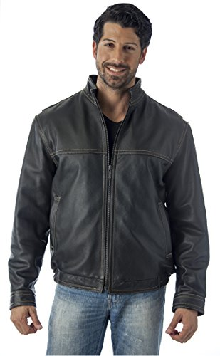REED Men's Contemporary Stand Up Collar Leather Jacket (Black, XLT)