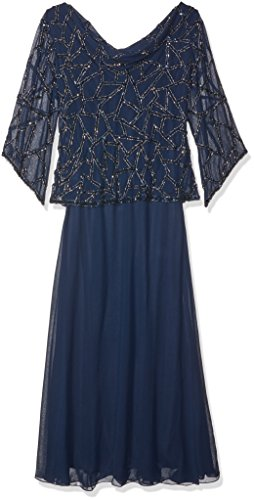 J Kara Women's Plus Size Long Beaded Dress with Cowl Neck, Navy/Mercury, 18W (Apparel)