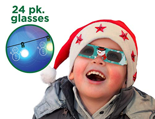 Holiday Specs 3D GLASSES- 24pk Holographic glasses, Look through Glasses at your Holiday Lights and see Snowmen, Snowflakes, Santa, Gingerbread Men, Candy Canes or Reindeer Appear before your Eyes!