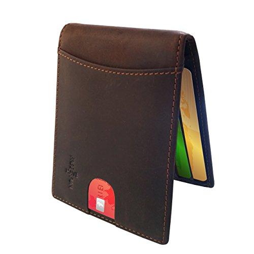 FreeHaveFun RFID Blocker Kartenetui Geldklammer Leder braun | Geldbörse Herren Kreditkartenetui Kartenhalter NFC Schutz Geldbeutel Damen Portemonnaie klein Slim Wallet Portmonee Brieftasche Geldtasche Kartenbörse
