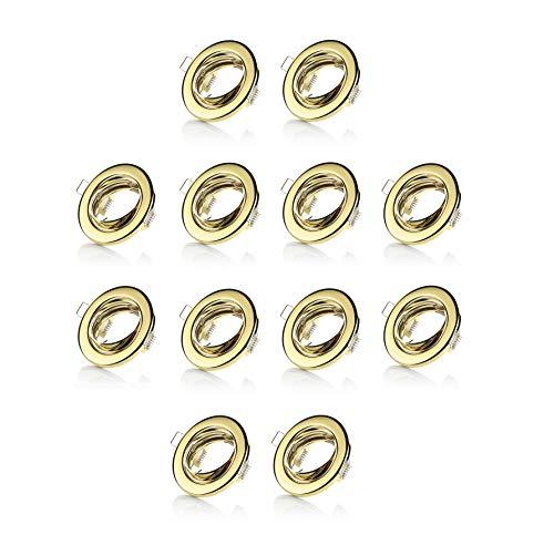 sweet led® 12 er- Einbaustrahler Gold farbig inkl. GU10 Fassung 230V set Einbaurahmen schwenkbar Rahmen Einbauspots Einbauleuchten (Gold farbige - rund)