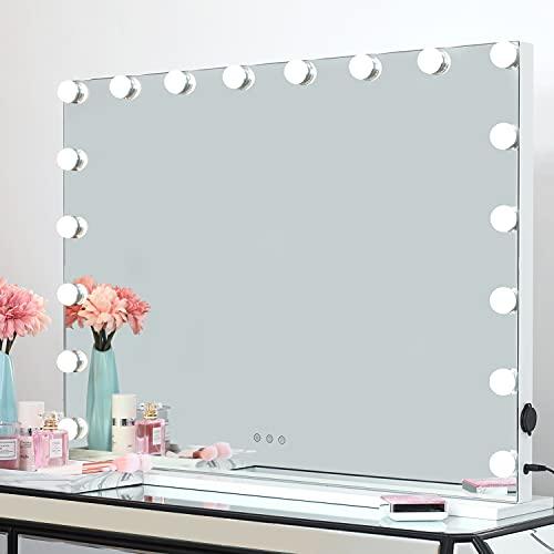 iCREAT Hollywood Espejo de maquillaje con iluminación 18 bombillas 3 colores claros Regulable Espejo de mesa de pared Espejo de teatro profesional para los amantes del maquillaje 80X60 cm