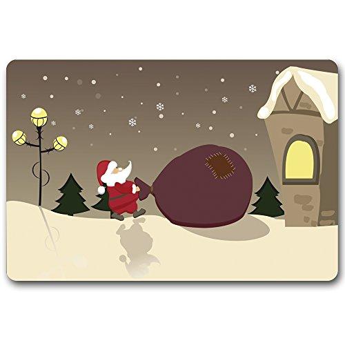 Maplehouse Thème de Noël Paillasson (Père Noël et Cadeaux) sur Mesure – personnalisé Durable Lavable en Machine Intérieur/extérieur Paillasson 59,9 cm (L) x 39,9 cm (L) Pouces