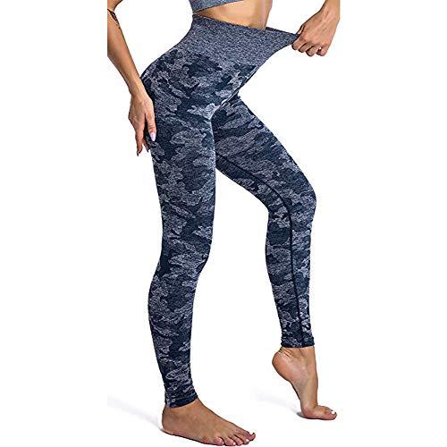 Leoyee Pantalones de chándal de Fitness Pantalones de Yoga de Cintura Alta sin Costura para Entrenamiento Deportivo de Mujer Pantalones Ajustados