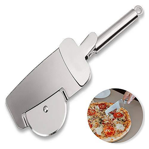 Sinogoods Rotella Tagliapizza, Taglia Pizza Acciaio Inox Rotella Tagliapasta, 4 in 1 Pizza Cutter Ruota, Pala per Pizza, Lavabile in Lavastoviglie