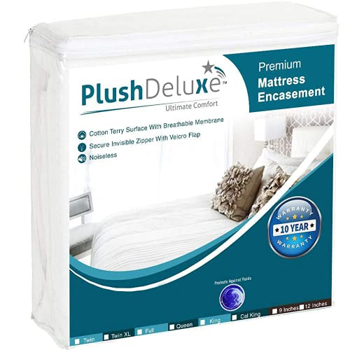 PlushDeluxe Premium Zippered Mattress Encasement, Waterproof, 6-Sided Protector Cover, Cotton Terry Surface Fits 12-15 Inches (Queen-12)