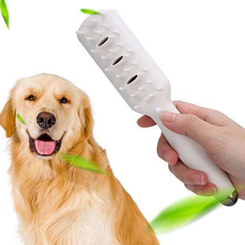 Gmkjh Peine para Mascotas, Peine de Masaje para Perros, Cepillo eliminador de olores para Mascotas Generador de ozono eléctrico Peine de Masaje ABS Tipo-C para Perros y Gatos