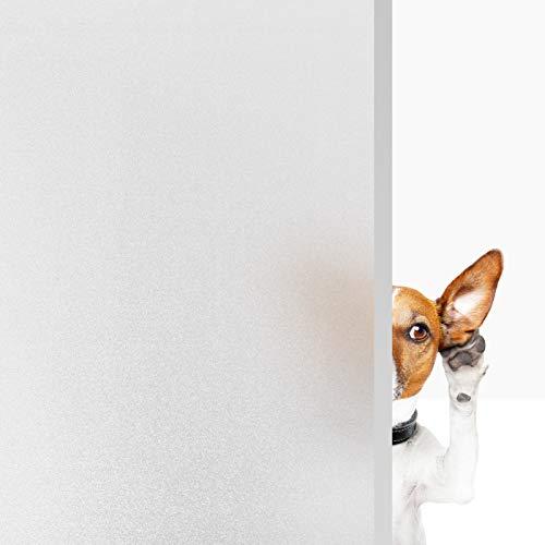 VPCOK Fensterfolie selbsthaftend Blickdicht Milchglasfolie Sichtschutzfolie Fenster Fensterfolie für Büro, Zuhause oder Badzimmer, 44.5 * 200cm weiß(MEHRWEG)