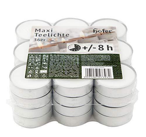Hofer Bougies Chauffe-plat Maxi Grandes - 36 pièces - 8 heures de combustion - Cire non parfumée, sans gouttes, longue durée, qualité UE