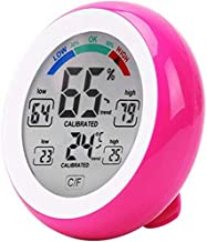 GXT Higrómetro Digital LCD Pantalla Interior termómetro higrómetro Redondo inalámbrico electrónico Temperatura Humedad medidor estación de Tiempo Tester (Color : Pink)