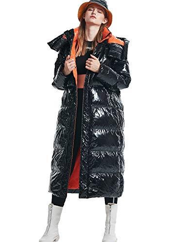 Piumino da Donna Leggero Cappotto Invernale Cappotto Lungo Imbottito Parka Piumino Imbottito Piumino Caldo Cappotto Capispalla Moda Nero-L