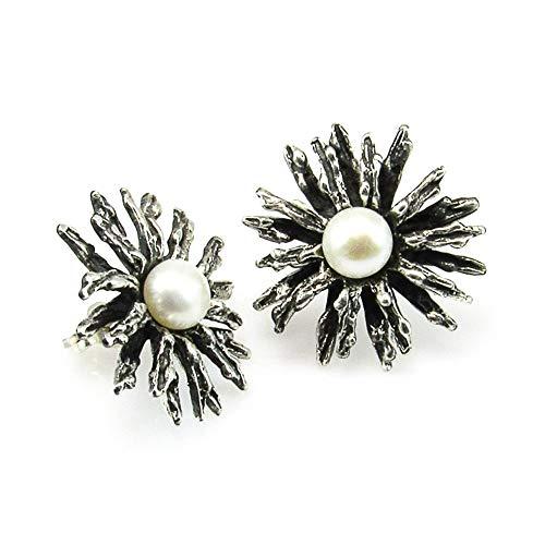 Minoplata Pendientes de Plata Vieja Margarita con Perlas