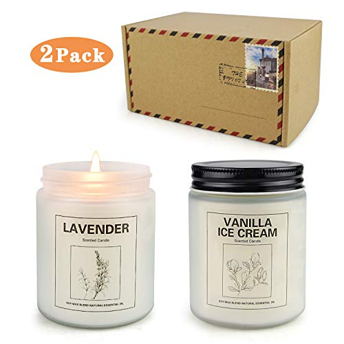 CREASHINE Candles Gifts for Women, Natural Soy Wax Jar Candles Long Lasting 50 Hours, Aromatherapy Scented Home Fragrance Candles Set-2 Pack (Vanilla Ice Cream & Lavender)