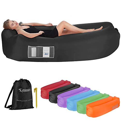 EDEUOEY Inflatable Lounger Air Sofa: Waterproof Beach Travel Camping Outdoor Black Lazy Pack Bag Portable Small Hammock Chair Couch