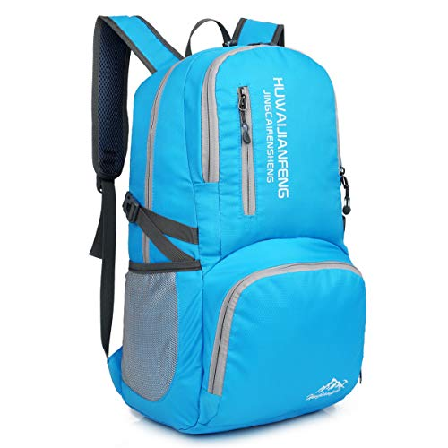 Crenze 35L Lightweight Foldable Backpack Travel Hiking Daypack, Men Women Durable Handy Waterproof Rucksack for Camping Mountaineering Walking Cycling Climbing (Sky Blue)