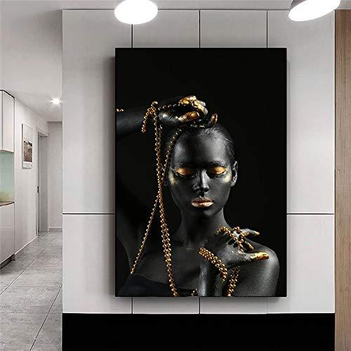Mujer africana negra sosteniendo joyas doradas lienzo pintura pared arte Cuadros carteles impresiones escandinavas imagen decoración del hogar 50x70 CM (sin marco)